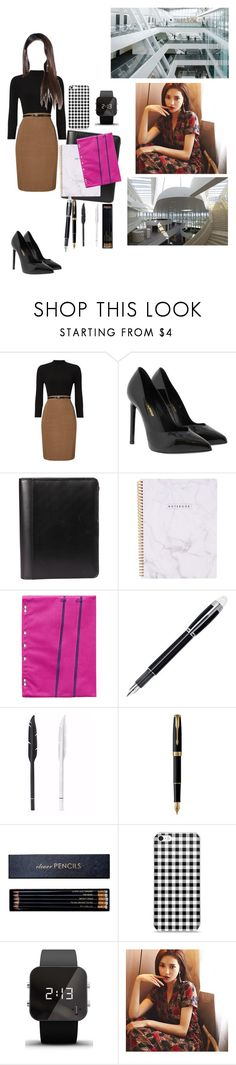 """《College》"" by christina-of-silv3r ❤ liked on Polyvore featuring Phase Eight, Yves Saint Laurent, Montblanc, Parker, Sloane Stationery, 1:Face and Vision"