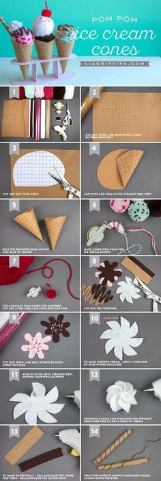 Celebrate National Ice Cream Day with this sweet treat from a project! Fun and sim… - Diyprojectgardens.club - Celebrate National Ice Cream Day with this sweet treat from a project! Fun and sim … - Kids Crafts, Felt Crafts, Craft Projects, Paper Crafts, Baby Crafts, Craft Tutorials, Ice Cream Crafts, Felt Food Patterns, Felt Play Food
