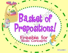 Basket of Prepositions Freebie! from SLPrunner on TeachersNotebook.com -  (9 pages)  - Freebie for working on prepositions and basic concepts.
