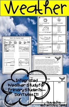 Here's a very integrated unit to use in most content areas to teach weather to primary learners. #weather #weatherforprimarygrades #cloudstudy #identifyingclouds #watercycleforprimarygrades #weathercrafts