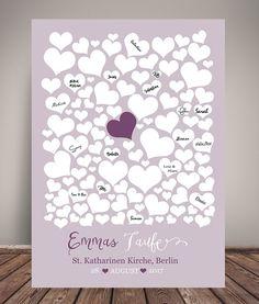 Fotoalbum & Gästebuch - GÄSTEBUCH POSTER TAUFE #HEARTS flieder DIN A3 - ein Designerstück von wandzucker bei DaWanda