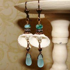 Delicate chic style beaded long dangle earrings