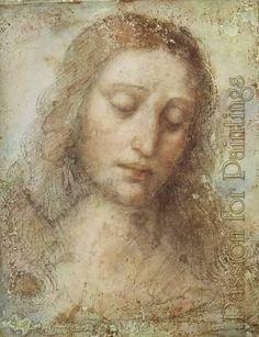 "Leonardo Da Vinci  Detail of the Head of Christ from the ""Last Supper"""