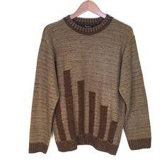 Vintage brown crewneck sweater with dark brown blocks pattern. Crewneck Sweater, Men Sweater, Pullover, Vintage Clothing, Vintage Outfits, Pattern Blocks, Vintage Shops, Dark Brown, Knitwear