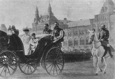 Empress Alexandra Feodorovna and the Tsarevich Alexei crossing Red Square enroute to the Kremlin in Moscow, Tercentenary celebrations, 1913//