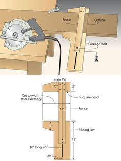 Woodworking Jigs On-the-mark circular saw jig. Try your hand with a jig that delivers accuracy for left- or right-bladed saws. Woodworking Workshop, Easy Woodworking Projects, Woodworking Jigs, Diy Wood Projects, Woodworking Furniture, Carpentry, Welding Projects, Woodworking Nightstand, Unique Woodworking