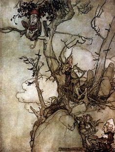 Arthur Rackham - The Kaatsberg or Catskill mountains have always been a region full of fable - Rip van Winkle by Washington Irving, 1905 Arthur Rackham, Tableaux D'inspiration, Rip Van Winkle, Classic Fairy Tales, Fairytale Art, Children's Book Illustration, Book Illustrations, Fairy Art, Fantasy Art