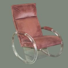 "DESCRIPTION: Mid century lucite rocker chair by designer Charles Hollis Jones. Upholstered in a burguny red velvet fabric with a bowed lucite base. The chair is a beautiful example of the talent and vision for design that Charles Hollis Jones has as a designer, the chair is strikingly appealling. CIRCA:Mid 20th Ct. ORIGIN:USA DIMENSIONS:H:38"" L:33"" W:25"""