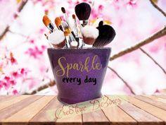 Sparkle Every Day Makeup Brush Holder, Glitter Brush Cup, Vanity Jar, Makeup Brush Holder, Bathroom Decor, Candle Holder, Toothbrush Holder