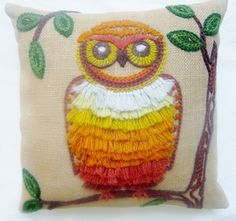 New Owl Pillow made from a Vintage Crewel Embroidery