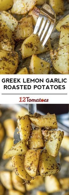 The Best Roast Potatoes Ever - Food and drink - Greek Roasted Potatoes, Best Roast Potatoes, Greek Potatoes, Potatoes On The Bbq, Yukon Potatoes, Potatoes In Oven, Vegetable Dishes, Vegetable Recipes, Side Dishes