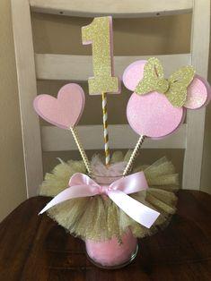 Minnie Mouse Rose et Or Décorations D'anniversaire Gâteau | Etsy