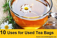 10 Uses for Used Tea Bags...For more creative tips and ideas FOLLOW https://www.facebook.com/homeandlifetips