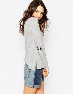 ASOS Sweater With French Bulldog Elbow Patch