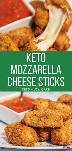 Who doesn't love mozzarella sticks?! Well, here is a recipe from I Can't Believe It's Low Carb for delicious homemade keto mozzarella sticks that are also gluten-free. You can make these snacks at a moment's notice and everyone will love them! #recipe #keto #cheese #lowcarb #snacks #appetizer
