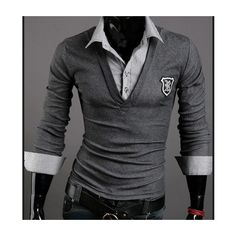 100% cotton fake 2 piece shirt features a solid v-neck long sleeve embroidered t-shirt with button down undershirt.