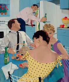Beer in the Kitchen, art by Mike Ludlow.   Love that everyone's dressed up