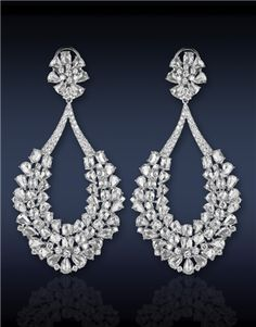 Magnificent Tear Drop Earrings with Rose-cut and White around Diamonds