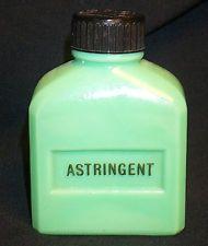 Vintage McKee Jadite Astringent Bottle; Glows Under Black Light