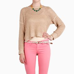 beige/taupe/mint/dusty rose (L): Open Knit Asymmetrical Sweater