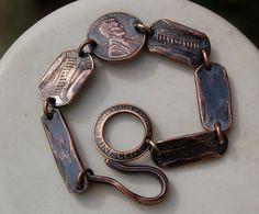 Trendy jewerly making ideas for men ideas Penny Bracelet, Copper Bracelet, Metal Bracelets, Copper Jewelry, Wire Jewelry, Beaded Jewelry, Jewelry Bracelets, Handmade Jewelry, Silver Bracelets