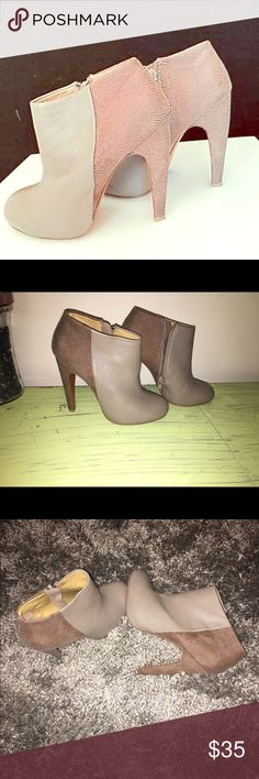 Sale make offer 🎉Badgley Mischka Theresa booties. Badgley Mischka Theresa booties. Upper part leather. Side zipper, rounded toe. Heel height 4  1/2  tan/light caramel Badgley Mischka Shoes Ankle Boots & Booties