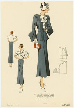 Elégant costume en taffetas bleu marine. shortened to the knee and this would fit in at any boardroom meeting :)