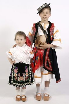 Children Slovak folk costume from Detva, Podpolanie region, Central Slovakia Heart Of Europe, We Are The World, Folk Costume, Ethnic Fashion, Harajuku, Dressing, European Countries, Party, Pattern