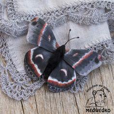 Купить Брошь из кожи Бабочка Сатурния Цекропия - бабочка, брошь, подарок девушке, подарок женщине