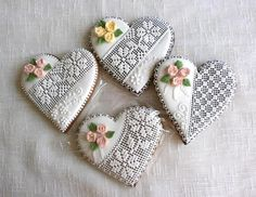 Fondant Lace on Heart Shaped Cookies embellished with flowers and leaves. Lace Cookies, Royal Icing Cookies, Heart Shaped Cookies, Heart Cookies, Valentine Cookies, Holiday Cookies, Cupcakes, Cupcake Cookies, Russian Cookies