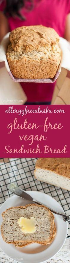Amazing Gluten-Free Vegan Sandwich Bread from Allergy Free Alaska made with sorghum flour, tapioca starch, millet flour brown rice flour, ground flax seeds