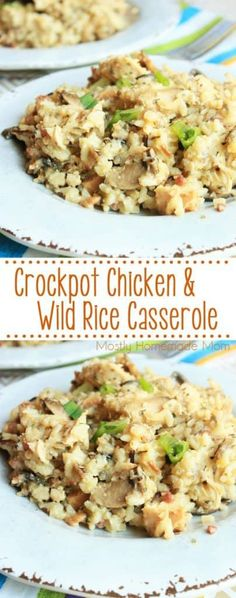 Crockpot Chicken and Wild Rice Casserole - This classic comfort food casserole is prepared in the slow cooker! Chicken, wild rice, mushrooms, and seasonings - the perfect Crockpot recipe for a busy weeknight! (Chicken And Rice Casserole Recipes) Slow Cooker Huhn, Crock Pot Slow Cooker, Crock Pot Cooking, Slow Cooker Recipes, Cooking Tips, Crockpot Rice Recipes, Crockpot Meals, Slow Cooker Casserole, Easy Cooking