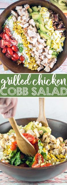 Grilled Chicken Cobb Salad: the perfect 20 minute meal to please the whole family! Easy, quick, and fully customizable, it should be a regular staple in your summer dinner rotation. {Bunsen Burner Bakery} via @bnsnbrnrbakery