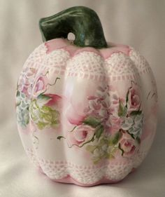 Hand Painted Pumpkin Fall Cottage Chic Pink Roses Hydrangeas Shabby Lace HP