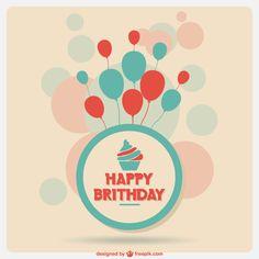 Make a Wish: Birthday Freebies – Vector Postcards Happy Brithday, Happy Birthday Cupcakes, 21st Birthday Cards, Free Birthday Card, Birthday Card Template, Greeting Card Template, Very Happy Birthday, Birthday Bash, Birthday Greetings