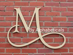 Initials Monogram Wall Decor Letters Hanging Script Baby Name Wooden Nursery Art Alphabeticals (Click photos to see all styles.)