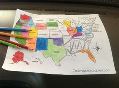 This Craft US Map Has Colorful States And A Cute Fun Font For - Cute map of us