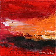 Schilderij rood/oranje/zwart: Afterglow-1, tweeluik, te koop via www.wendygraat.nl