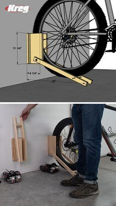 FREE PROJECT PLAN: Bike Racks , Bikes leaning against the wall can quickly lead to a chaotic garage and to damaged bikes. Now you can store your bikes properly and take back your gar. Diy Bike Rack, Bike Storage Rack, Pallet Bike Racks, Garage Velo, Diy Garage, Garage Plans, Diy Wood Projects, Woodworking Projects, Bike Shed