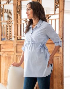 Seraphine's chic Pinstripe Empire Maternity Shirt in soft stretch cotton is a versatile must-have for your new wardrobe. Stylish Maternity, Maternity Wear, Maternity Dresses, Maternity Fashion, Maternity Shirts, Pregnancy Outfits, Pregnancy Shirts, Pregnancy Tips, Early Pregnancy