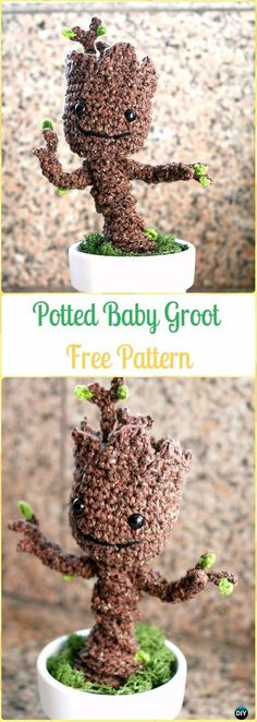 Crochet Potted Baby Groot Free Pattern - Crochet Plant Free Patterns