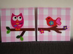 Schilderij voor kinderkamer. Gemaakt van stof en vilt en geplakt op canvas. Canvasdoeken zijn ook bij de Egel te koop.
