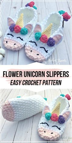 crochet womens flower unicorn slippers pattern - DIY- aka Someone make this for me please. - crochet womens flower unicorn slippers pattern Crochet womens flower unicorn slippers FREE Pattern - easy crochet slippers pattern for beginners Crochet For Beginners, Crochet For Kids, Crochet Baby, Knit Crochet, Beginners Sewing, Beginner Crochet, Crochet Girls, Crochet Flower, Crotchet