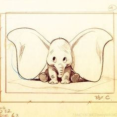 Dumbo sketch with his big ears.