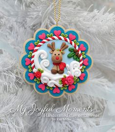 Handcrafted Polymer Clay Winter Reindeer by MyJoyfulMoments pinned by Wee Memories on Pinterest.