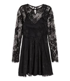 Lace dress: Short lace dress with a round neck, an opening with a button at the back of the neck, long sleeves, seam at the waist and gently flared skirt. Long Sleeve Short Dress, Short Lace Dress, Lace Dress Black, Short Dresses, Dress Lace, Flare Skirt, Spring Outfits, Fashion Online, Casual Dresses
