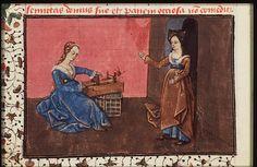 Arachne and Minerva, The Epistle of Othea (KB 74 G 27, fol. 59v), c. 1450-1475.