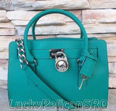 Michael Kors Hamilton East West Saffiano Aqua Green Satchel Bag Handbag Tote NWT #MichaelKors #TotesShoppers