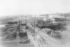 Aftermath of the Seattle fire of June 6, 1889 looking north on 1st Ave. from Cherry St.