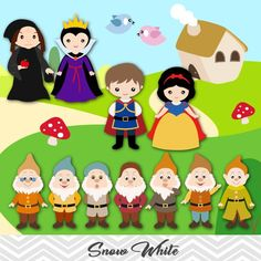 Snow White Digital Clip Art, Snow White Clipart, Snow White Princess Clipart, Seven Dwarves Clip Art Snow White Prince, Snow White Evil Queen, 7 Dwarfs, Seven Dwarfs, Felt Crafts, Paper Crafts, Snow White Birthday, Writing Pictures, Felt Patterns